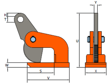 Horizontální svěrka DHW 6t, 0-50 mm - 2