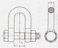 """Vysokopevnostní třmen  Form D 750 kg, 5/16"""" - 2/2"""