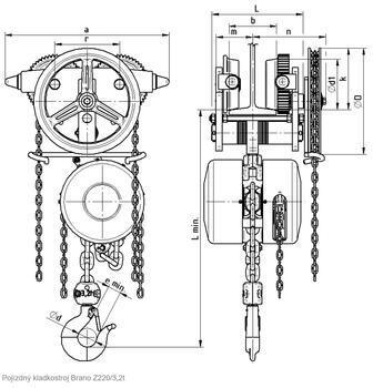 Řetězový kladkostroj pojízdný Z220-A, nosnost 1,6 t, délka zdvihu 8 m - 2