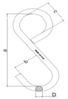 S-hák uzavřený prodloužený 750 kg, třída 8 - 2/2