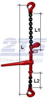 Stahovací řetězová sestava typ č.1 průměr 8 mm, délka 2 m, třída 8 GAPA - 2