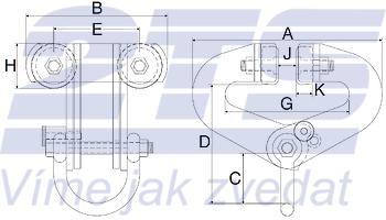 Závěsný ruční vozík A3 superclamp 10t, 100-305mm - 2