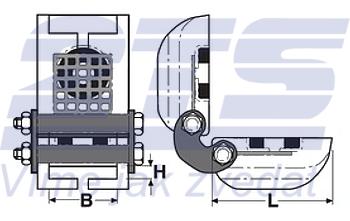 Rohová kloubová ochrana SKB-30A pro textilní úvazky 30mm, bez magnetů - 2