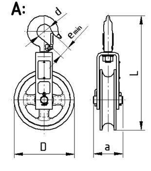 Zednická kladka Z500/A s hákem bez krytu - 2