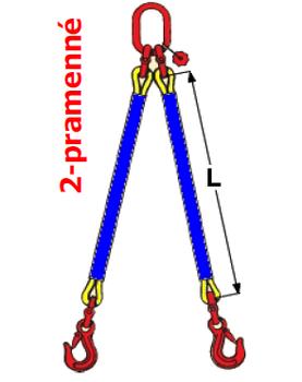 2-hák textilní RS, nosnost RS 1t, délka 2m - 2