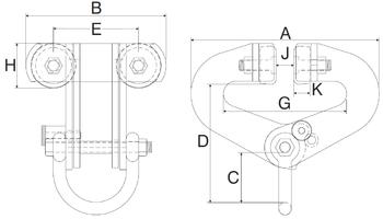 Závěsný ruční vozík A2 superclamp 6t, 100-305mm - 2