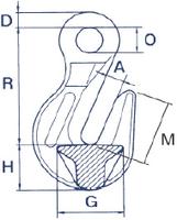 Zkracovací hák s okem ZHOE průměr 26 mm GAPA, třída 8 - 2/2