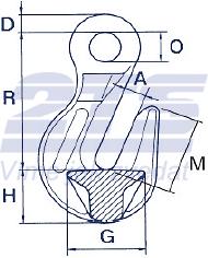 Zkracovací hák s okem ZHOE průměr 26 mm GAPA, třída 8 - 2