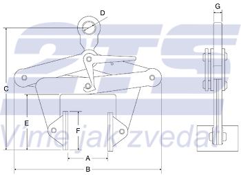 Svěrací na zvedání bloků CBKN 3t, 350-500mm - 2