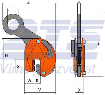 Nosníková svěrka BKW 1 t, 0-15 mm vertikální - 2