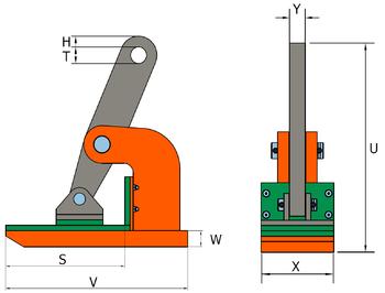 Horizontální svěrka NMHW 3 t, 0-45 mm - 2