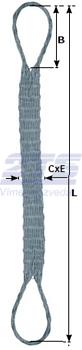 Ploché ocelové lano se zapleteným okem, typ 8701, 15t, 4,5m - 2