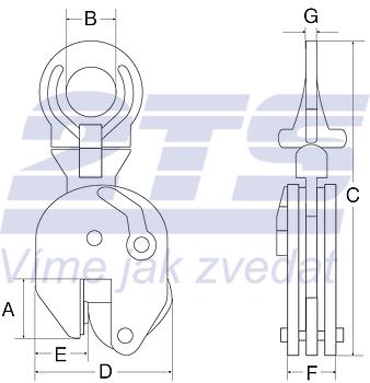 Vertikální svěrka CUE 1 t, 0-25 mm - 2