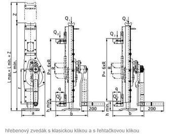 Hřebenový zvedák s přestavitelnou opěrou 15-00, nosnost 2,5 t, ráčnoklika - 2