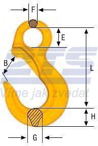 Závěsný hák bez pojistky EK průměr 10 mm, třída 10 - 2