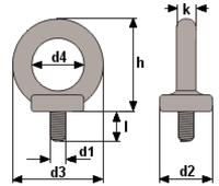 Šroub s okem DIN 580 M30-pozinkovaný-C15E,nosnost 3600kg - 2/4