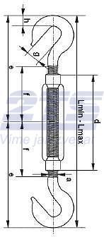 Lanový napínák DIN 1480 Zn, hák - hák, M20 - 2