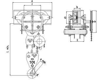 Řetězový kladkostroj pojízdný Z220, nosnost 10 t, délka zdvihu 3 m - 2