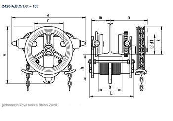 Jednonosníková kočka s ovládacím řetězem Z420, nosnost 7,5 t, délka zdvihu 9 m - 2