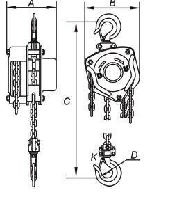 Řetězový kladkostroj LHZ, nosnost 2000 kg, délka zdvihu 3m - 2