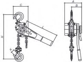 Pákový kladkostroj LRZ3000, nosnost 3000 kg, zdvih 1,5m - 2