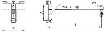 Závěsné rameno na desku VZV jednoduché ZR1D 2500kg - 2