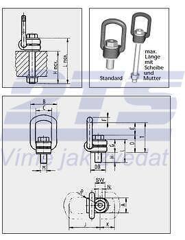 Šroubovací otočný a sklopný bod RUD VLBG M42x73, nosnost 10 t - 2