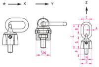 Šroubovací otočný a sklopný bod RUD VWBG M16x25, nosnost 1,3t - 2/3