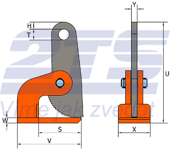 Horizontální svěrka HSXW 2 t, 0-100 mm - 2