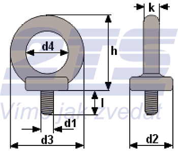 Šroub s okem DIN 580 M22-pozinkovaný-C15E,nosnost 1200g - 2