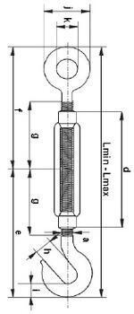 Lanový napínák DIN 1480 Zn, oko - hák, M14 - 2