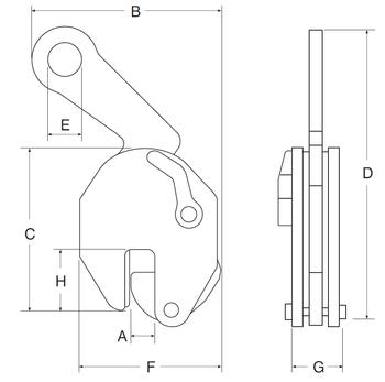 Nosníková svěrka CBV 2 t, 0-20 mm - 2