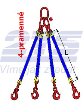 4-hák textilní RS, nosnost RS 4t, délka 1,5m - 2