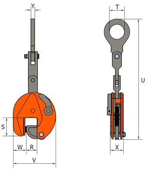 Vertikální svěrka VEMPW 7,5 t, 0-55 mm - 2
