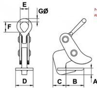 Horizontální svěrka CAMLOK HH8, nosnost v páru 8t, sv. 5-50mm - 2/3