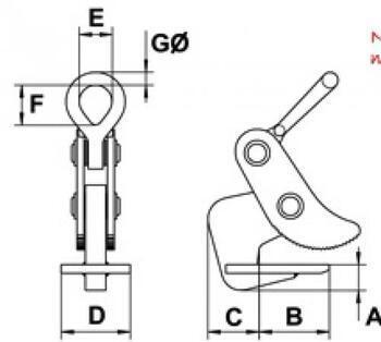 Horizontální svěrka CAMLOK HH8, nosnost v páru 8t, sv. 5-50mm - 2