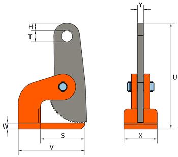Horizontální svěrka HXW 2 t, 0-60 mm - 2