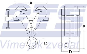 Šroubovací závěsná svěrka CSV 5t, 150-300mm - 2