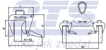 Nosič skruží vačkový NSV-r s řetězem 3t, 50-180 mm - 2