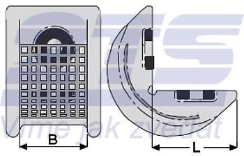 Rohová pevná ochrana SWH pro textilní úvazky 65mm standard, jednostranný magnet - 2