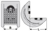 Rohová pevná ochrana SWH pro textilní úvazky 65mm standard, jednostranný magnet - 2/2