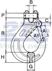 Hák s vidlicí WA průměr 16 mm, třída 8 - 2