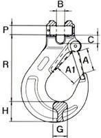 Hák s vidlicí WA průměr 16 mm, třída 8 - 2/2