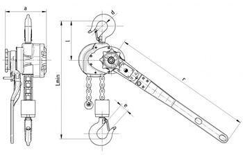 Pákový kladkostroj s válečkovým řetězem RZV 6,3 t, délka zdvihu 1,5 m - 2