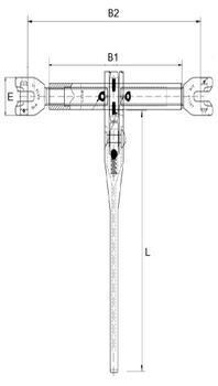 Řetězový napínák s vidlicí ŘNV průměr 8 mm, třída 10 - 2
