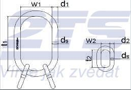 Závěsné oko zvětšené K25t/3-10X, 340x180 mm, třída 10 - 2