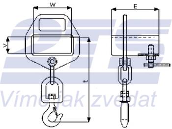 Závěs na vidlici VZV jednoduchý s otočným hákem ZV1 OH 1000kg - 2