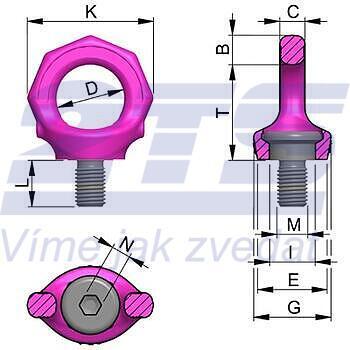 Šroubovací otočný bod s klíčem RUD VRS-F M16x24mm, Nosnost: 1,5t(4t) - 2