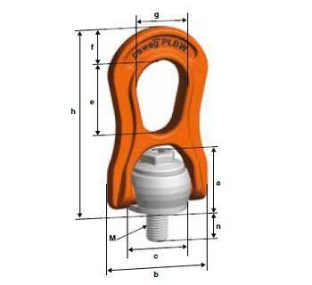 Šroubovací otočný a sklopný bod PLBW M30x45, nosnost 6,3 t, max.délka 355 mm, tř.10 - 2