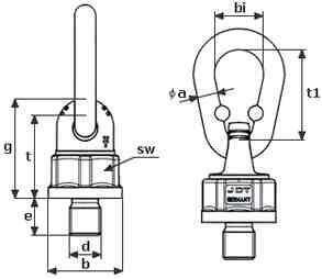 Šroubovací bod Theipa point TP0,7, M14x20mm, nosnost 2000/1000 kg, třída 10 - 2